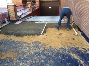 cama de arena con mortero